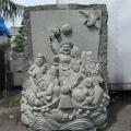 七福神 天然石 彫刻 御影石 庭園 置物 オブジェ 和風 庭 日本庭園