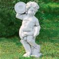 イタリア製子供像(ガーデン オーナメント・石像) 子供の楽団(小)シンバル 【※商品番号:m-pu0105】