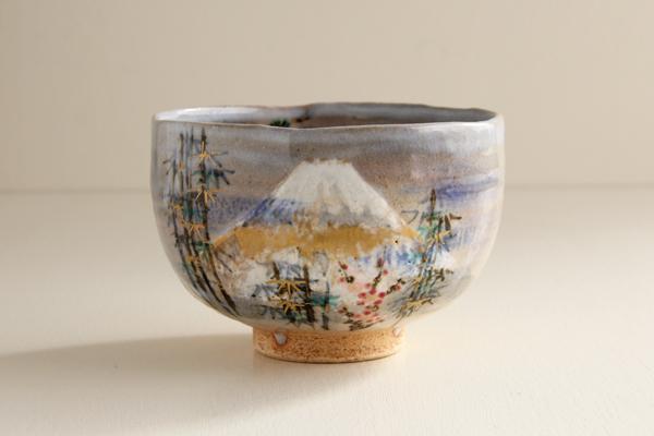 【現品限り 20%OFF】茶碗 乾山 富士に松竹梅 寺尾陶象作