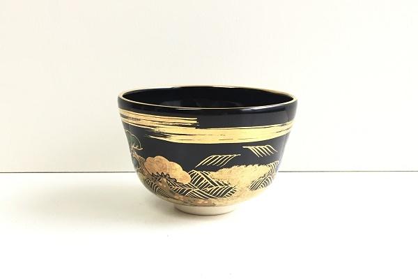 茶碗 黒仁清 松風 平安御室窯作