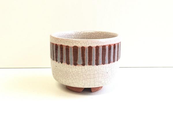 茶碗 ペルシャ白釉 彩文 佐々木昭楽作