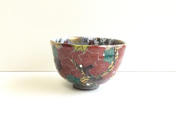 茶碗 紅葉 富永玄山作