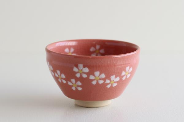 小茶碗 花ちらし ピンク