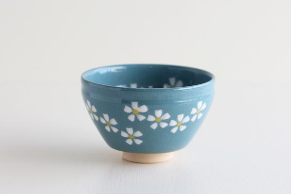 小茶碗 花ちらし ブルー