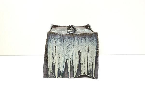 水指 朝鮮唐津 塗蓋付 藤の木土平作