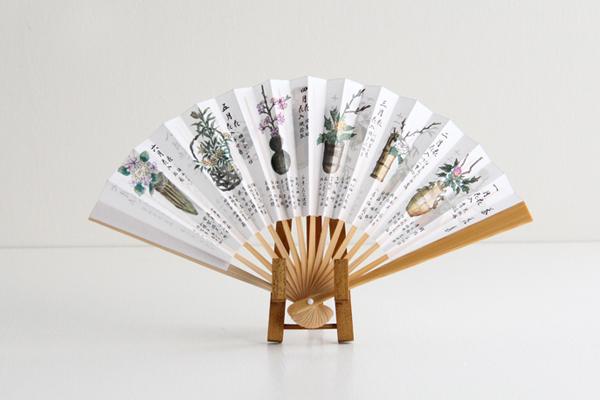 扇子 茶花集 女性用 白竹 5寸