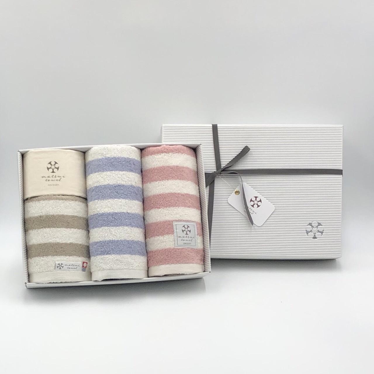 【ギフトボックス入り】スタイリッシュでカジュアルなボーダー柄タオル 引っ越し祝い 結婚祝い 贈答 日本製  フェイスタオル 各色1枚3枚組 布袋つき Chouchou シュシュ