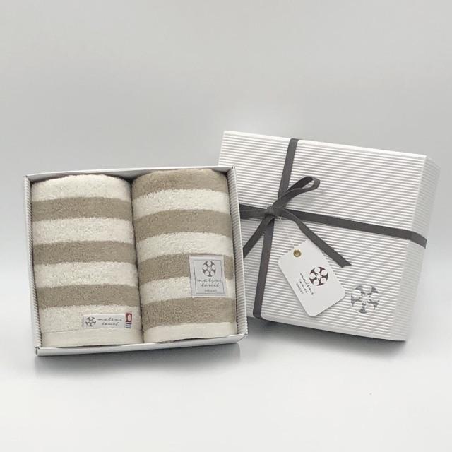 【ギフトボックス入り】スタイリッシュでカジュアルなボーダー柄タオル 引っ越し祝い 結婚祝い 贈答 日本製 今治タオル フェイスタオル 同色2枚組 Chouchou シュシュ