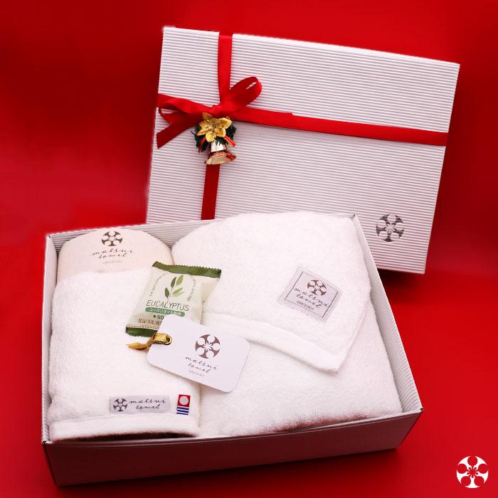 【クリスマス特別セット】ピマコットン使用の最高級タオル バスタオル1枚+フェイスタオル1枚 ミルキーホワイト ユーカリソープと布袋つき 日本製 今治タオル Beaute ボーテ