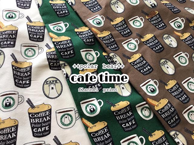 【フランネルプリント】++ポーラベア++『 cafe time 』