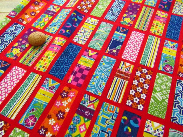 【約53cm幅×約50cmカット*ミニカットクロス】『Colorful 和 Japan 『 着物 』』あか【コットン スケアプリント】
