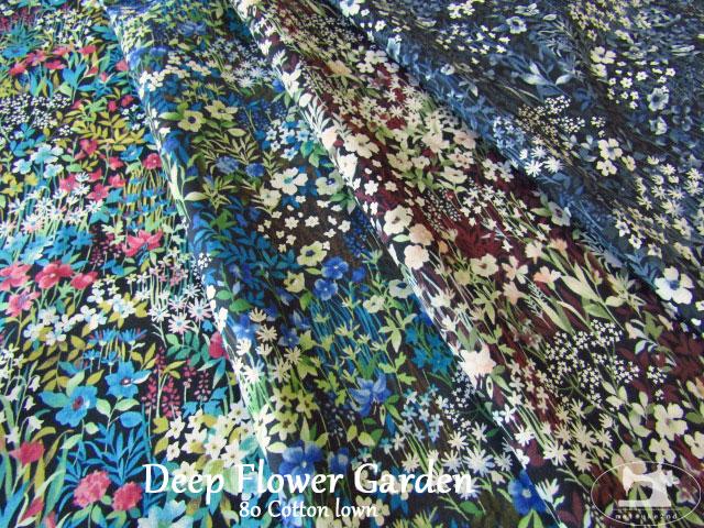 お買い得!【80綿ローンプリント】 『 Deep Flower Garden*ディープ フラワー ガーデン 』