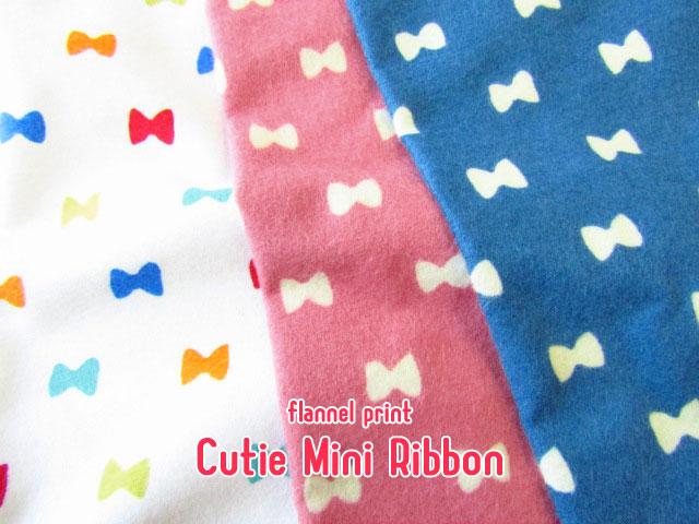 【フランネルプリント/両面起毛】  Cutie◇Mini Ribbon♪ (キューティー ミニ リボン)