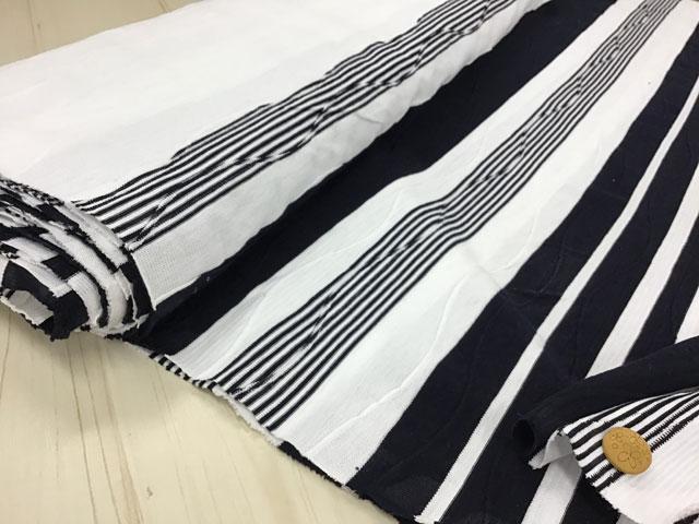 【反売り】 変わり織り ボーダーパネル柄 ホワイト×ブラック[ 幅170cm×約4m巻 ]