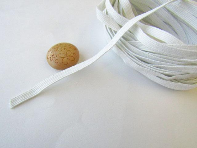 現品処分! 〈縫製工場放出品〉  約5mm幅 『 約6コール平ゴム 〈ホワイトグレー〉』 約5m巻