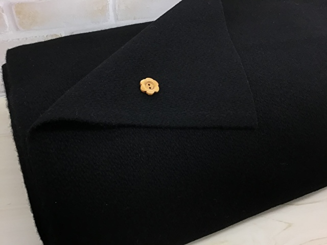 【反売り】ウール混綾織メルトン風 ブラック[ 幅145cm×約5.5m巻 ]