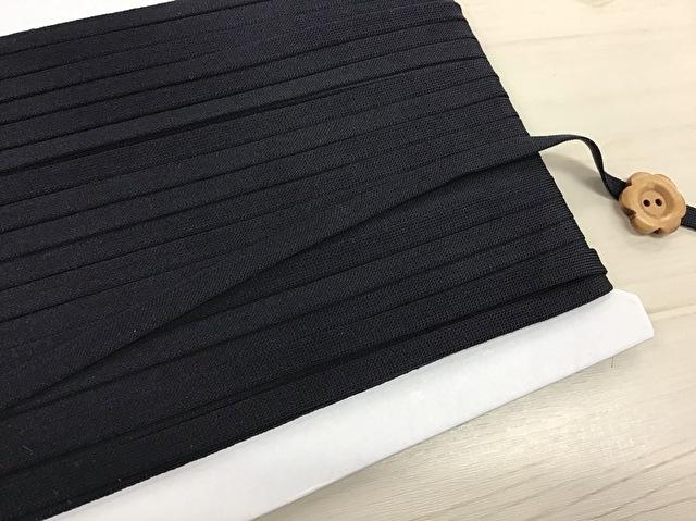 現品処分! 〈縫製工場放出品〉 約6mm幅 『 ストレッチテープ 〈ブラック〉』 約30m巻