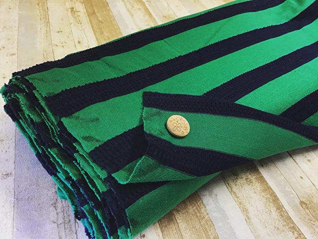 【反売り】変わり織りボーダーニット グリーン×ネイビー系[ 幅110cm×4.8m巻 ]