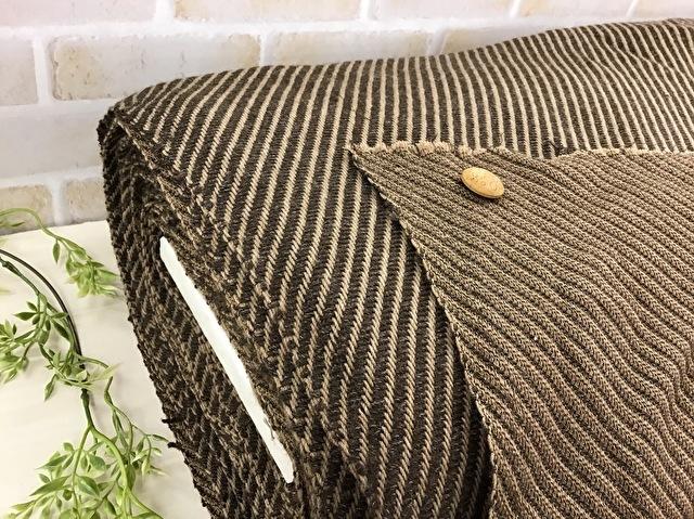 【反売り】やわらかざっくり斜め織りウール ブラウン×キャメル系[ 幅140m×約11m巻 ]