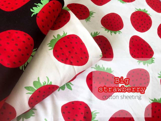 【コットン シーチングプリント】 ** Big strawberry **  ( ビッグ ストロベリー )