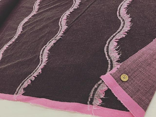 【反売り】ウールフリンジ ブラウンピンク系 [ 幅150cm×約6.5m巻 ]