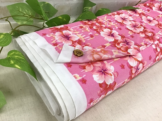 【反売り】 カノコツーウェイフラワープリント ピンク系[ 幅95cm×約5m巻 ]