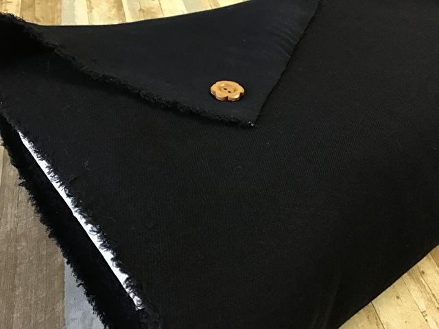 【反売り】ウール混カルゼ ブラック[ 幅140cm×約7.5m巻 ]