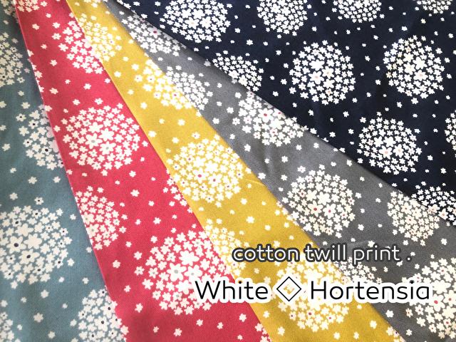 【コットン ツイルプリント】*White◇Hortensia* (ホワイト ホルテンシア)