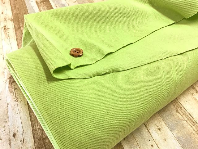 【反売り】リブニット 黄緑系[ 25cmの輪(50cm幅)×約6m巻 ]