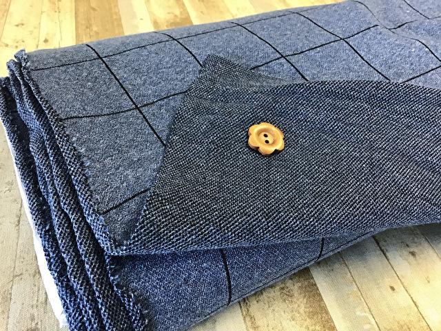 【反売り】ジャーガードニット(格子柄) 杢ブルー系[ 幅160cm×約3m巻 ]