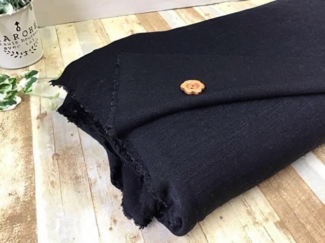 【反売り】ウール混ニット ブラック[ 幅150cm×約7m巻 ]