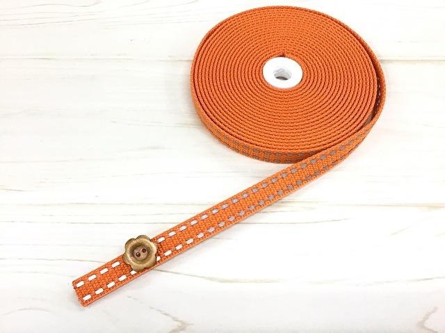 現品処分! 〈縫製工場放出品〉  約15mm幅 『 アクリル反射テープ〈 オレンジ〉』約5m巻