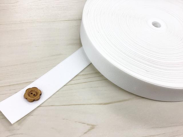 現品処分! 〈縫製工場放出品〉 約30mm幅 『 ややハードゴム 〈ホワイト系〉』 約30m巻