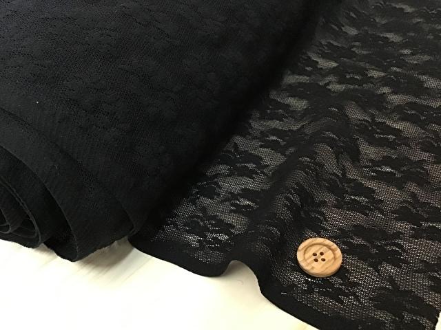 【反売り】 ストレッチチュールフラワー柄 ブラック [ 幅90cm×約12m巻 ]