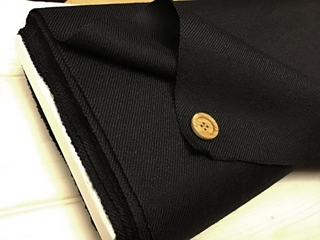 【反売り】 カルゼ風ウール ブラック[ 幅146cm×約5m巻 ]