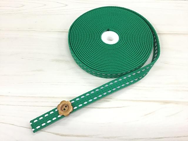 現品処分! 〈縫製工場放出品〉  約15mm幅 『反射ライン入り厚手アイビーテープ 〈グリーン系〉』 約5m巻