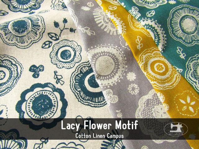お買い得! 【コットンリネンキャンバス】 Lacy flower motif * レーシー フラワー モチーフ