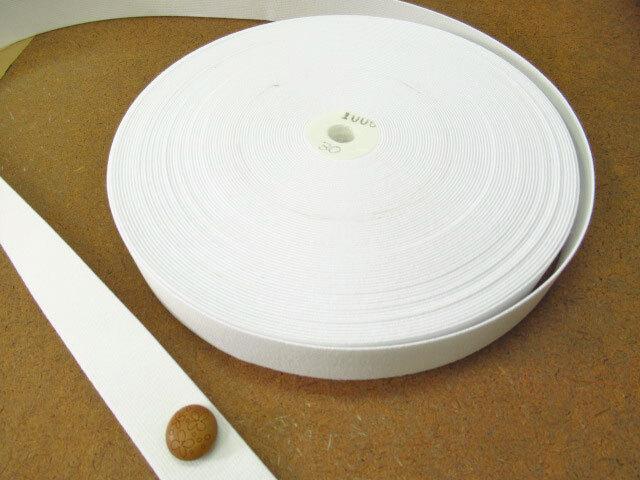 現品処分! 〈縫製工場放出品〉  約3cm幅 『平ゴム〈ハードタイプ〉 オフホワイト』 約30m巻