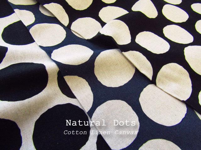 【コットンリネンキャンバス  】 Natural Dots*ナチュラル ドット