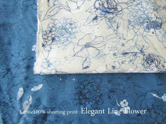 【ラミー100% シーチングプリント】 **Elegant Line Flower (エレガント ライン フラワー )**