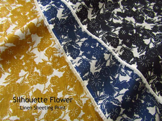 【リネンシーチングプリント】 Silhouette Flower*シルエット フラワー
