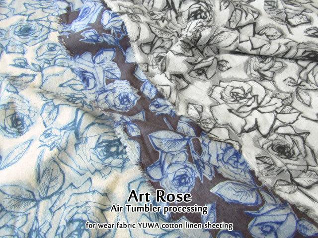 【コットンリネンシーチング】 <YUWA> **Art Rose(アートローズ)**【エアータンブラー加工】