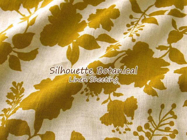 【リネンシーチングプリント】 Silhouette Botanical*シルエット ボタニカル ダークマスタード