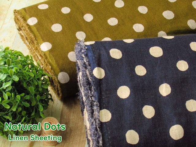 【リネンシーチングプリント】 Natural Dots*ナチュラル ドット
