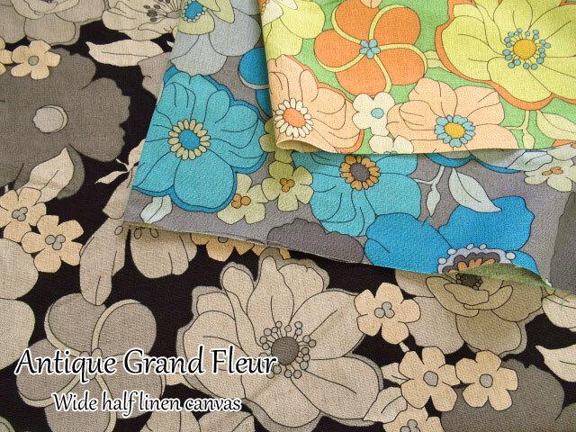 【W幅ハーフリネンキャンバス  】 Antique Grand Fleur**アンティーク グランフルール**