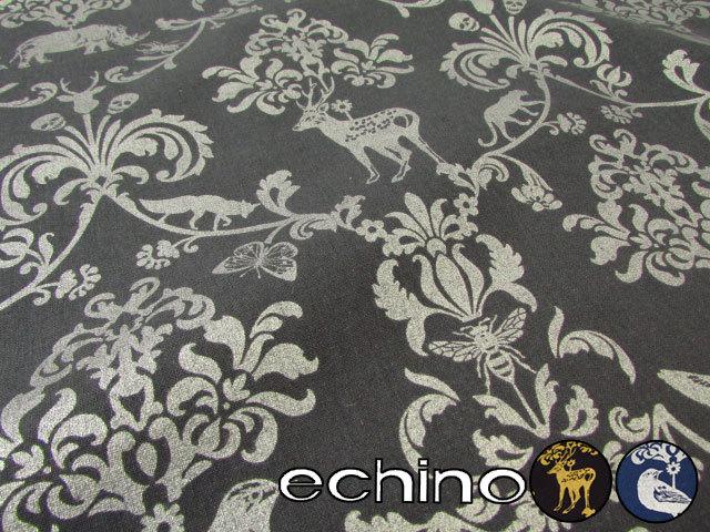 【ハーフリネンキャンバス*ラメプリント】 echino 2016 『Classic animals』(クラシック アニマルズ)