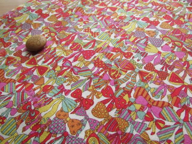 LIBERTY オーガビッツ11号ハンプ 2015*春夏柄 Jenny's Ribbons(ジェニーズ・リボンズ) オレンジ系
