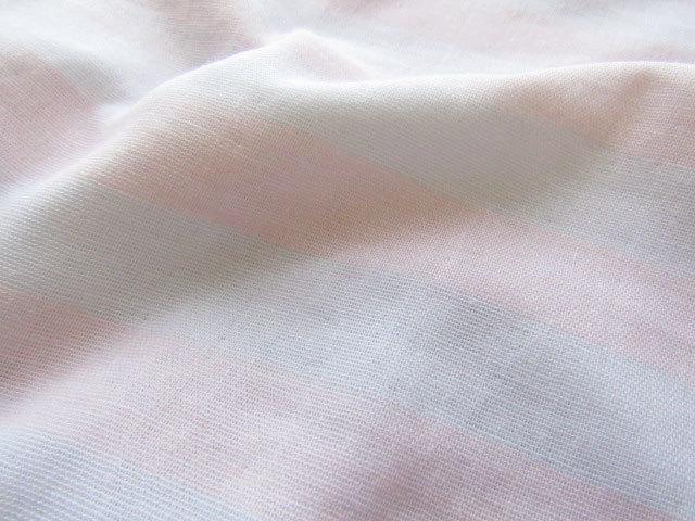 お買い得! コットンうっすらボーダーダブルガーゼ ピンク×ホワイト【約3mカット・約6mカット】