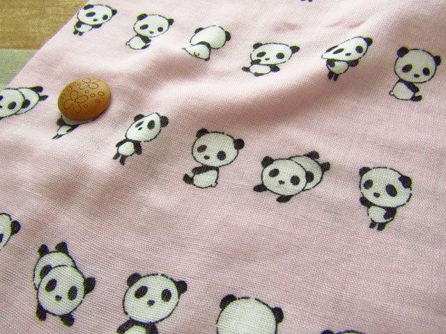 【約53cm幅×約50cmカット*ミニカットクロス】『りらっくす☆パンダちゃん♪』ピンク【ふんわりWガーゼ】