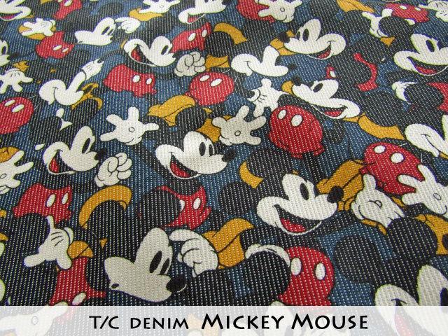 【 T/C デニム 】 ≪Disney(ディズニー)≫ 『 Mickey Mouse(ミッキーマウス) 』 ネイビー